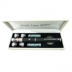 Зеленая лазерная указка с 5 насадками