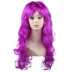 Карнавальный парик, длинный, вьющийся тёмно фиолетового цвета