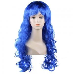 Карнавальный парик синий искусственный