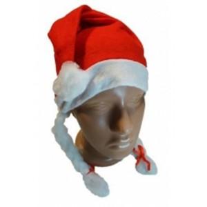 Шапка Деда Мороза с косичками новогодняя