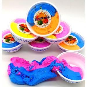Флаффи слайм  двухцветный тянучка в тарелочке
