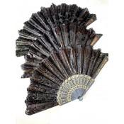 Веер плотный чёрный с рисунком