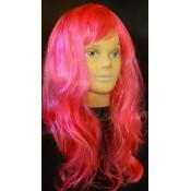 Парик карнавальный волнистый ярко розовый