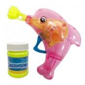 Мыльные пузыри пистолет механический в виде дельфина со светом 50мл